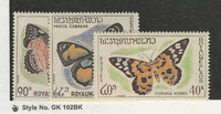 Laos, Postage Stamp, #101-103 Mint LH, 1965 Butterfly, JFZ