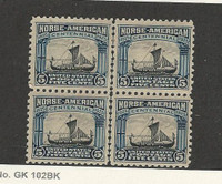 United States, Postage Stamp, #621 Mint (2 LH, 2 NH) Block, 1925 Norse, JFZ