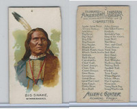 N2 Allen & Ginter, Celebrated American Indian Chiefs, 1888, Big Snake (B)