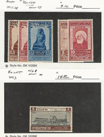 Egypt, Postage Stamp, #150-154 Mint LH, 168 Hinged, 1927-33, JFZ