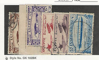 Egypt, Postage Stamp, #172-176 Used, 1933 Airplanes, Airship, JFZ