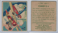 R136 National Chicle, Sky Birds Series 144, 1933, #108 Fokker D 8 (B)