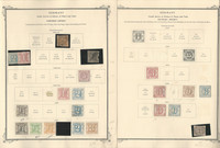 Germany States Stamp Collection on 4 Scott Specialty Pages, 1852-69, DKZ