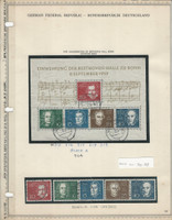 Germany Stamp Collection 1959 on Minkus Pages, #804 Beethoven, DKZ