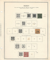 Germany Stamp Collection on Minkus Specialty Page, 1851-68 Baden, DKZ