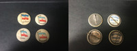 P6 American Tobacco Pins, National Flag, 1898, Madagascar, 4 Different