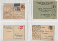 Germany Postcard Cover World War II Lot of 4, Heilbronn, Jena Munchen (I), DKZ