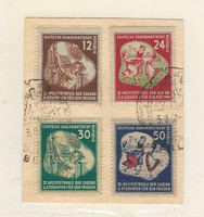 Germany DDR Postage Stamp, #85-88 Used on Piece, 1951, DKZ