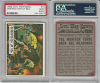 1962 Topps, Civil War News, #10 Destruction at Sea, PSA 9 OC Mint