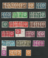 Germany Officials Stamp Collection, World War II Lot on Stock Page, 1934-42, DKZ