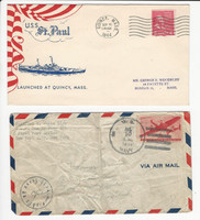 USA Ship Navy Covers, 1944, USS St. Paul, Navy Censor Racife Brazil, DKZ
