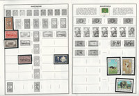 Martinique, Mauritania, Mauritius Stamp Collection on 16 Harris Album Pages