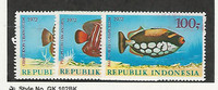 Indonesia, Postage Stamp, #834-836 Mint LH, 1972 Fish, JFZ