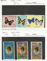 Belize, Postage Stamp, #352a, 354a, 356a Mint NH, 628-30 LH, Butterfly, JFZ