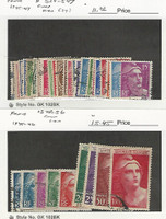 France, Postage Stamp, #524-547, 548-556 Used, 1945-47, JFZ