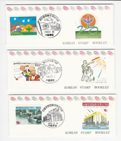 Korea, Postage Stamp, #1575a, 1576a, 1595a Used Booklet, 1990, JFZ