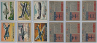 1952 Topps, Wings, Lot of 6 Airplanes, 12, 15, 18, 26, 27, 31