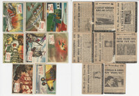 1954 Topps, Scoop, History Cards, Lot of 8, Ships & Airplanes, Maine, Manila