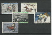 United States, Postage Stamp, #RW41-RW45 Duck Stamps, 1974-78, JFZ