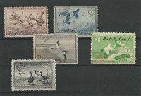 United States, Postage Stamp, #RW20//RW25 Duck Stamps, 1953-58, JFZ