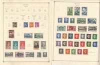 France Stamp Collection 1940-49 on 18 Scott International Pages, JFZ