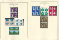 United Nations Stamp Collection 24 Scott Specialty Pages, 1969-79 Blocks, JFZ