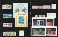 Ghana Stamp Collection, 1965-1974 Mint NH, 8 Pages Overprint Specimen, JFZ
