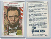 1975 Big Boy Family Restaurants, A Great American, #23 Abraham Lincoln