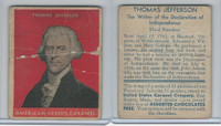 R114 United States Caramel, Presidents, Red, 1933, #3 Thomas Jefferson