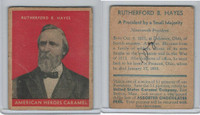 R114 United States Caramel, Presidents, Red, 1933, #19 Rutherford B. Hayes