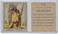 R128-2 Strip Card, Series of 48 - Western, 1933, #227 Sioux Tribe