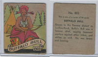 R131 Strip Card, Series of 48 - Western, 1930's, #803 Buffalo Bull