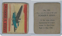 R132 Strip Card, Series of 48 - Aviation, 1938, #334 Fokker F. XXXVI