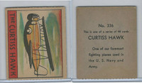 R132 Strip Card, Series of 48 - Aviation, 1938, #336 Curtiss Hawk