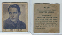 R133 Strip Card, Series of 96 - Movie Stars, 1930's, #178 Chester Morris