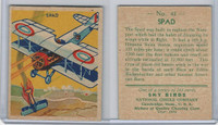 R136 National Chicle, Sky Birds Series 144, 1933, #41 Spad