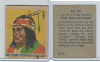 R185 Strip Card, Indian and Western, 1930's, #60 Chief Nonon-Dagon