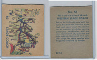 R185 Strip Card, Indian and Western, 1930's, #63 Stage Coach