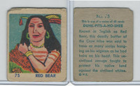 R185 Strip Card, Indian and Western, 1930's, #75 Red Bear