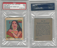 R185 Strip Card, Indian and Western, 1930's, #75 Red Bear, PSA 7 NM