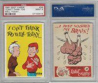1961 Donruss, Idiot Cards, #38 I Can't Think Too Well Today, PSA 9 Mint
