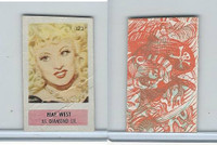 1949 Topps, X-Ray Round Up, #172 Mae West, Western Movie Star
