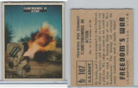 1950 Topps, Freedoms War, #107 Flame Throwers In Action