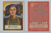 1952 Topps, Look 'N See, #102 Anne of Cleves, Queen England