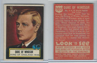 1952 Topps, Look 'N See, #103 Duke of Windsor, King of England