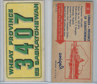 1953 Topps, License Plates Cards, #31 Canada-Province of Saskatchewan