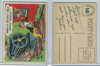 1957 Topps, Goofy Post Cards, #14 When Is The Next Train Coming Through?
