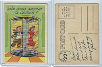 1957 Topps, Goofy Post Cards, #22 We're Going Around Together!