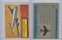 1957 Topps, Planes, Blue Back, #55 Lockheed 1049-G, US Airliner