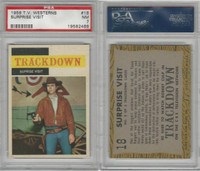 1958 Topps, TV Westerns, #18 Trackdown, Surprise Visit, PSA 7 NM